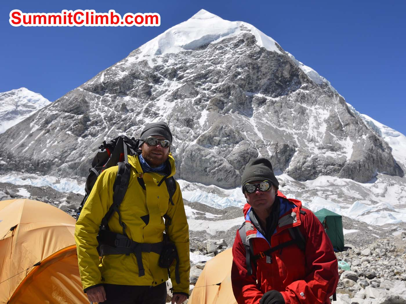 Jan and Pemba Sherpa in advanced basecamp. Preparing to head for the summit. Dmitri Nichiporov photo
