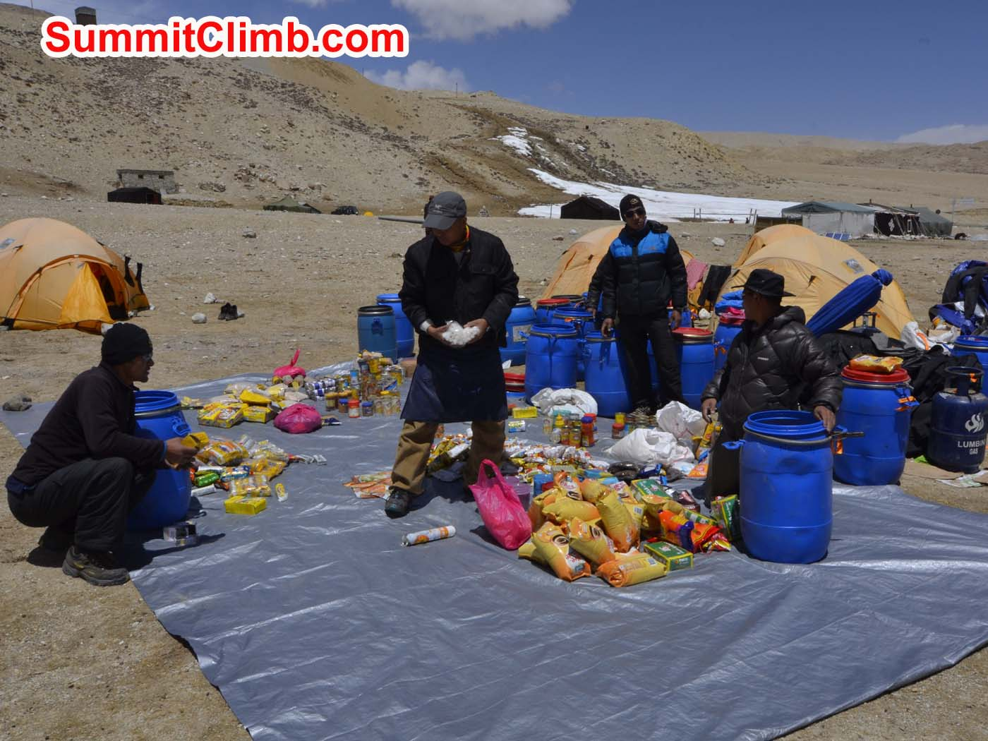 Kitchen staff packing at Cho Oyu's 'chinese' basecamp. Dmitri Nichiporov photo