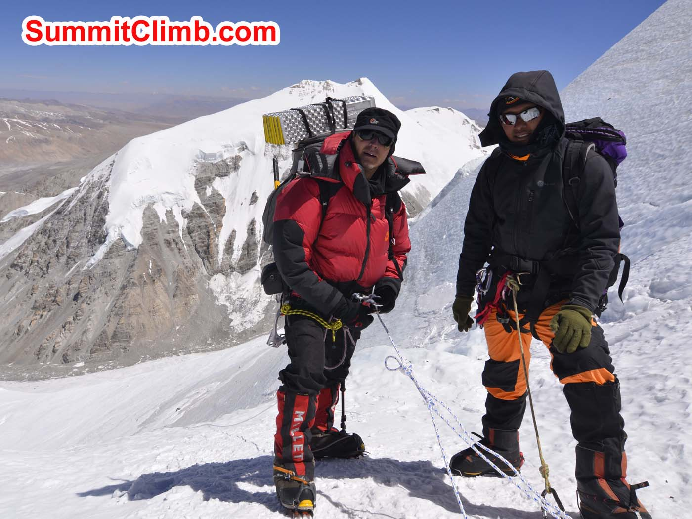 Pemba and Dmitri on the fixed lines to camp 2. Pascal Tiercelin photo