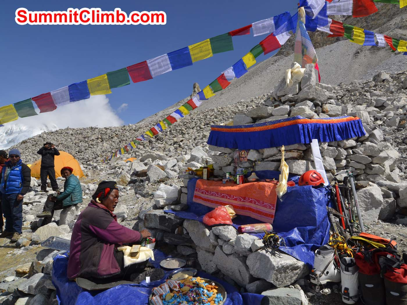 Tibetan Lama leads prayer ceremony at basecamp. Dmitri Nichiporov photo