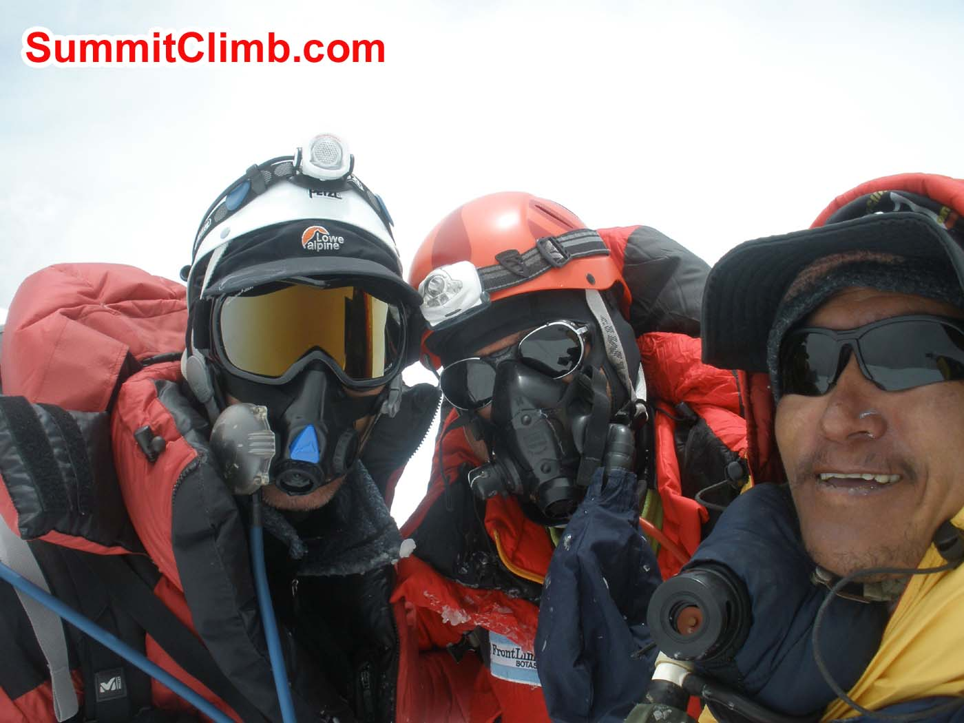 Pascal Tiercelin, Angel Armesto, and Pemba Sherpa on the Summit of Cho Oyu, 24 May, 2014