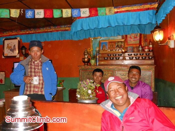 Our Sherpas enjoying Tibetan tea. Stu Frink Photo