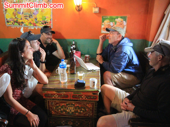 Team enjoys Tibetan teahouse ambience. Christoph Forster Photo