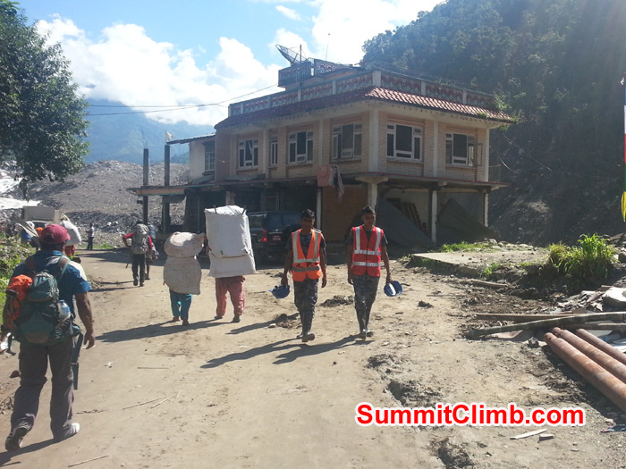 Trekking route through a massive landslide where 167 people were killed. May they Rest in Peace. Deha Photo.