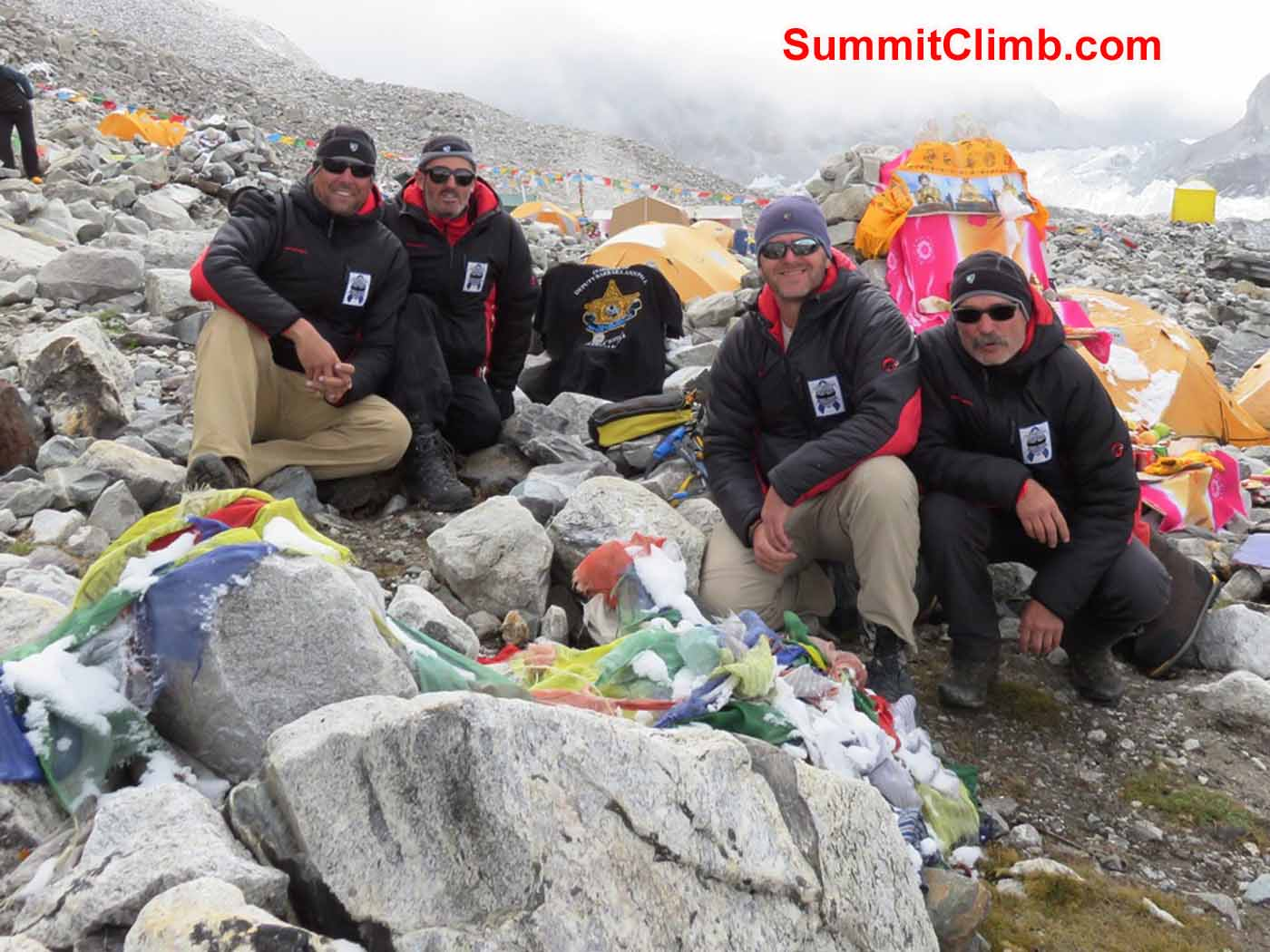 Cops on Top climbers Steve Janke, Stu Frink, Troy Bacon and Kaley Erickson at Advance Base Camp by Kaley Erickson.