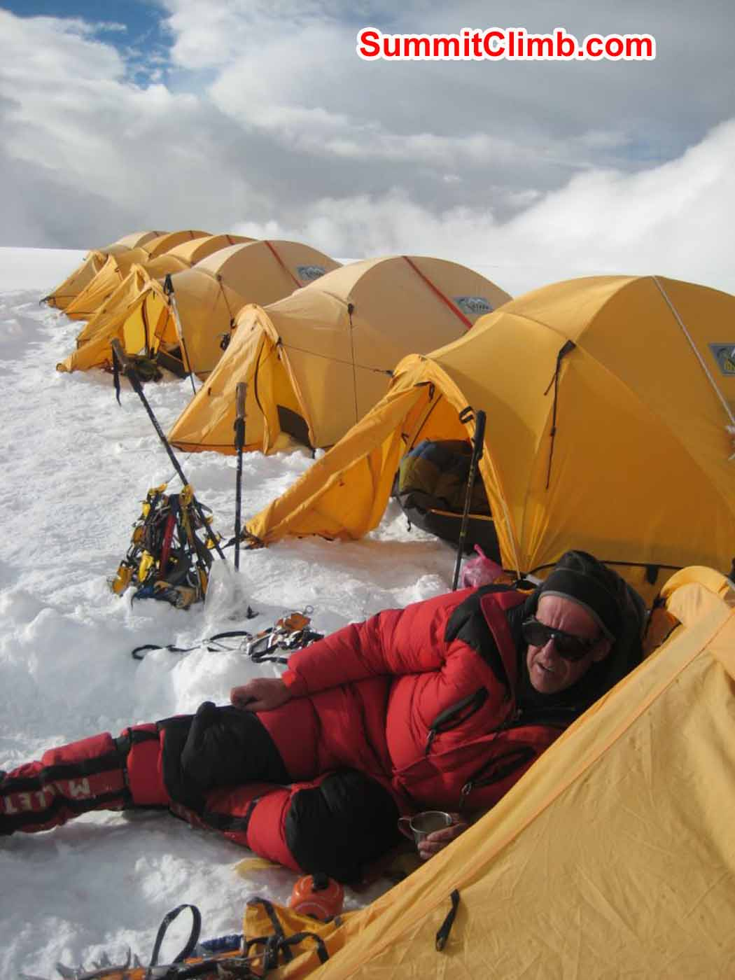 Dan Mazur rests outside tent on acclimatization day at camp 1.5 - photo by Marina Cortes
