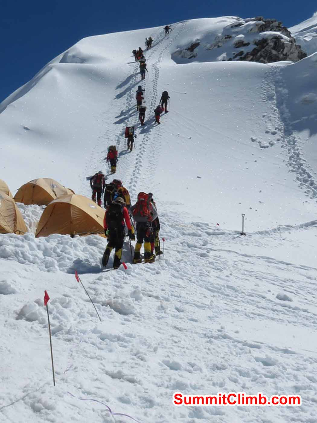 Expedition members getting ready to climb to Camp 1.5 by Kaley Erickson