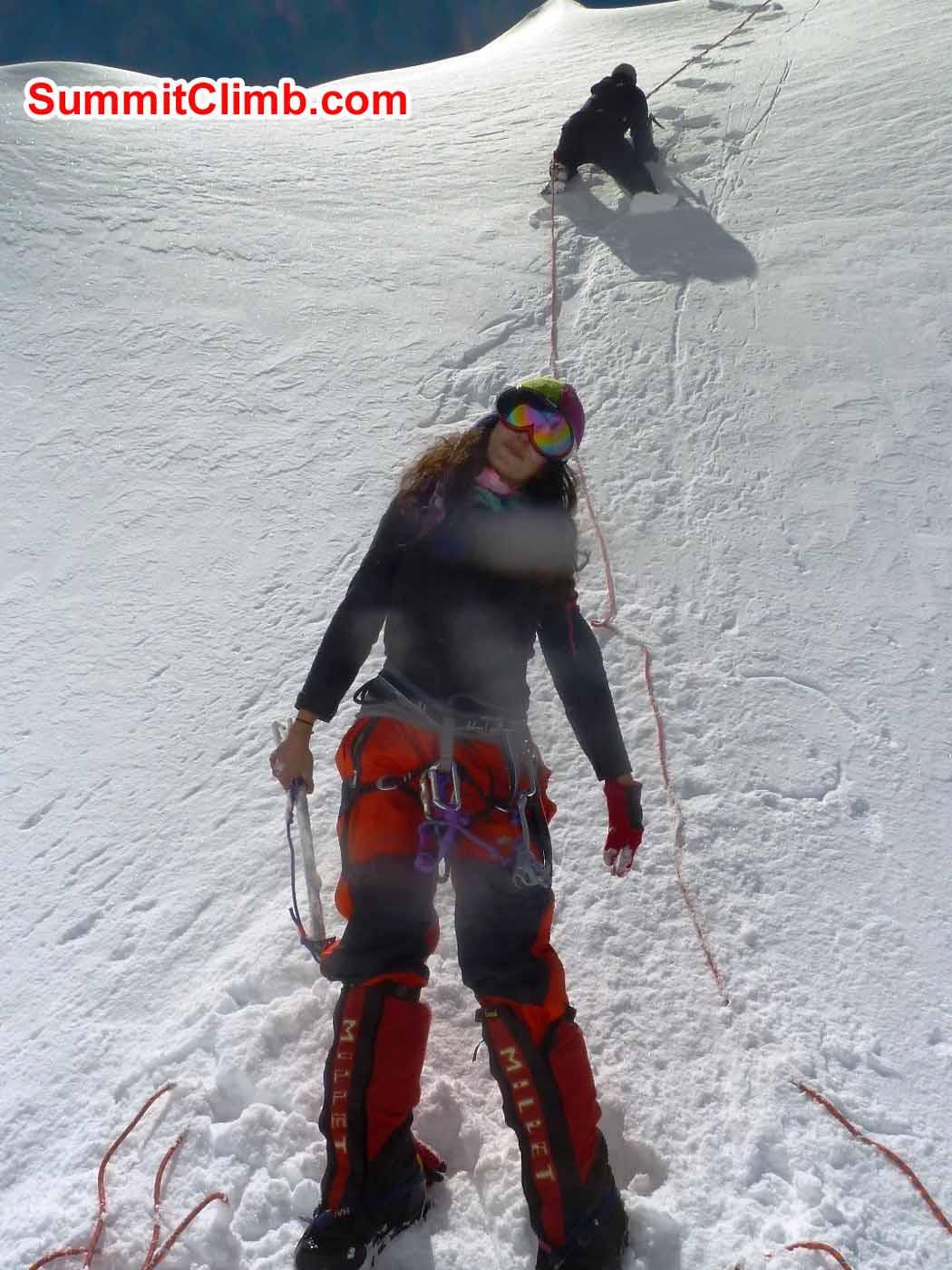 Marina and Tensing on Ice training wall at ABC - photo by Tsewang Sherpa