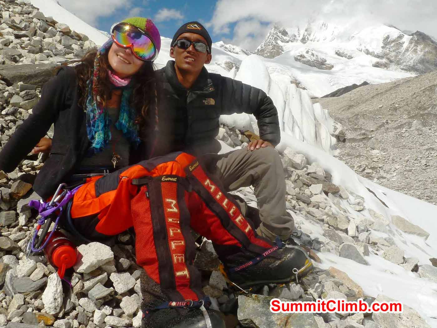 Marina and Tsewang Ice Training at ABC - Photo by Tensing Sherpa