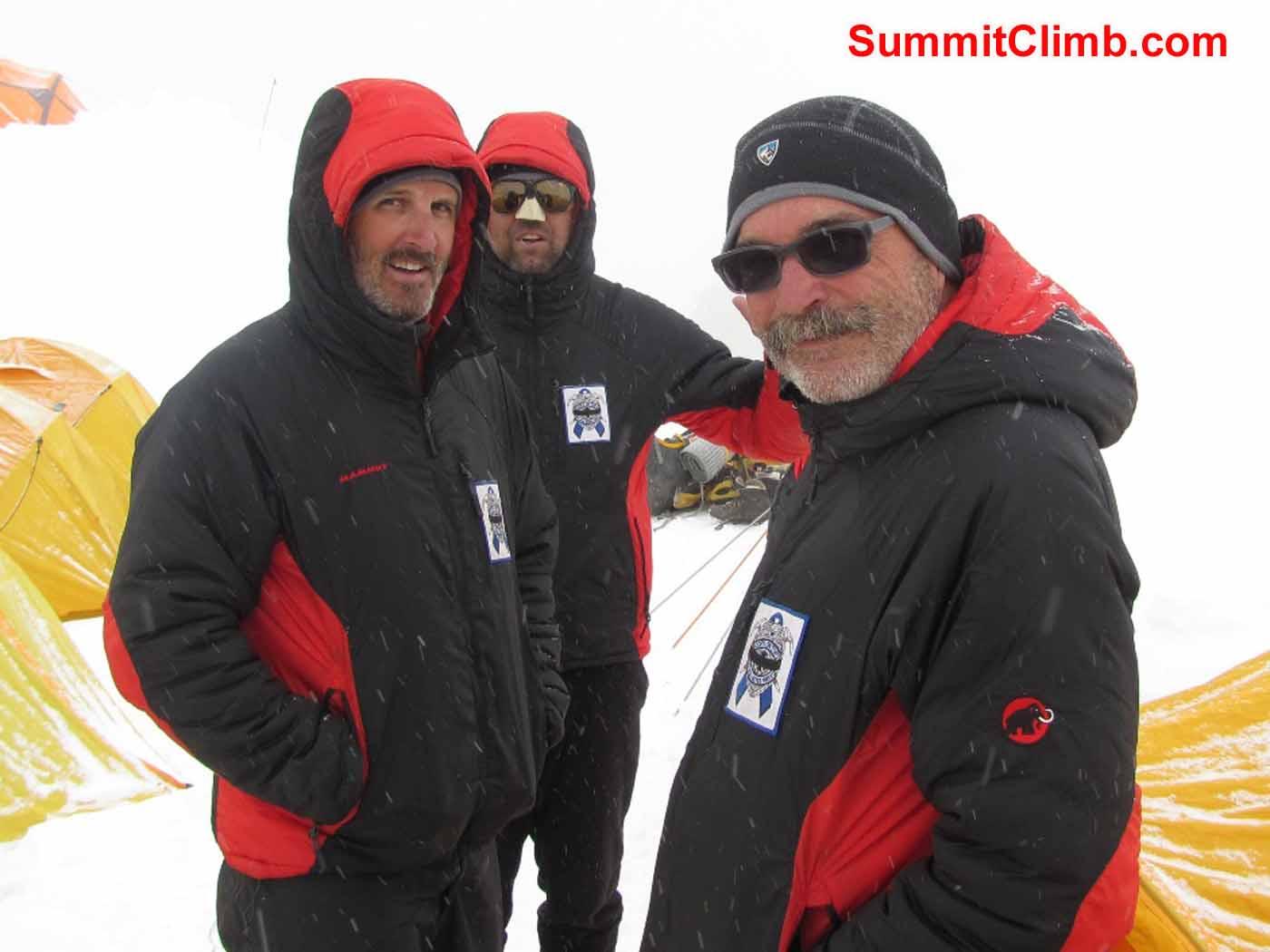Stu Frink, Steve Janke and kaley Erickson at Camp 1 by Troy Bacon