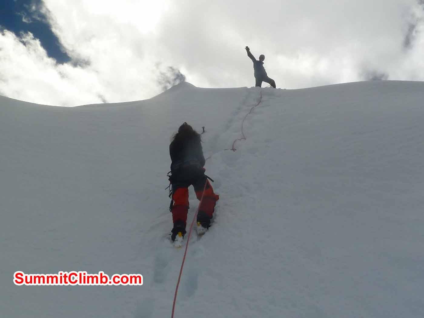 Tensing and Marina and Ice training wall at ABC - photo by Tsewang Sherpa