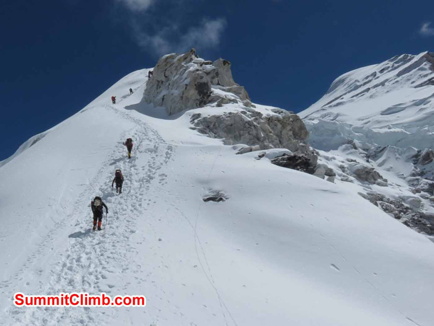 Steve Janke and Troy Bacon climbing to Camp 1.5 by Kaley Erickson