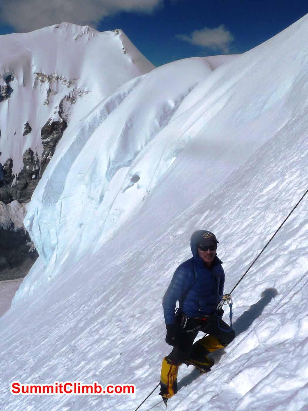 Ang Pasang Sherpa abseiling steep snow. Photo by Marina Cortes