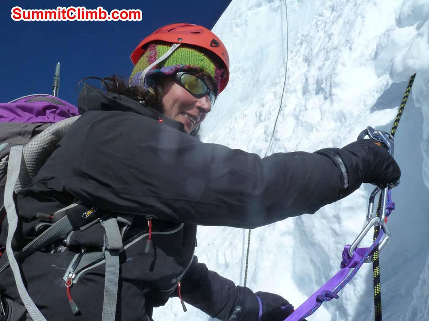Marina Cortes climbing the ice step over camp 1. Jangbu Sherpa Photo