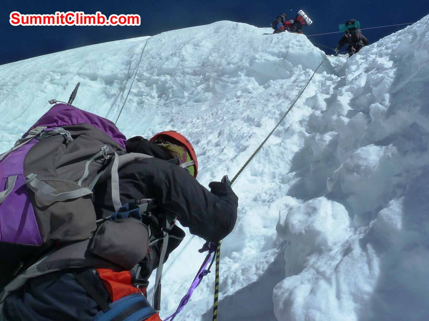 Marina, Andre, and Allen in the ice step. Jangbu Sherpa Photo