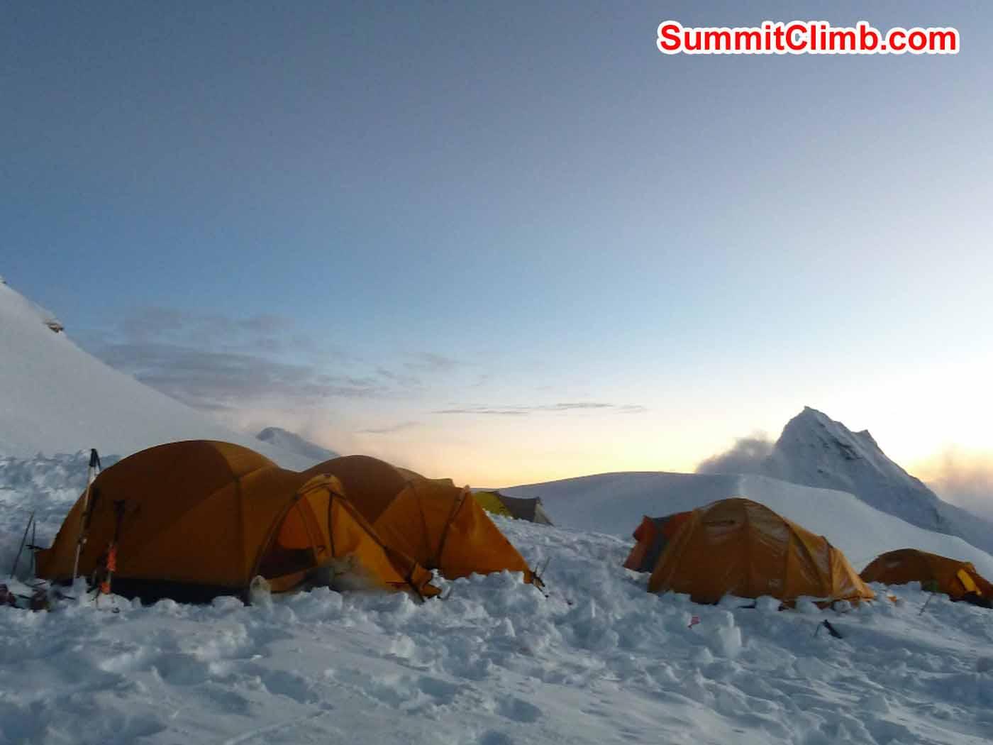 Camp 2 at sunset. Marina Cortes Photo