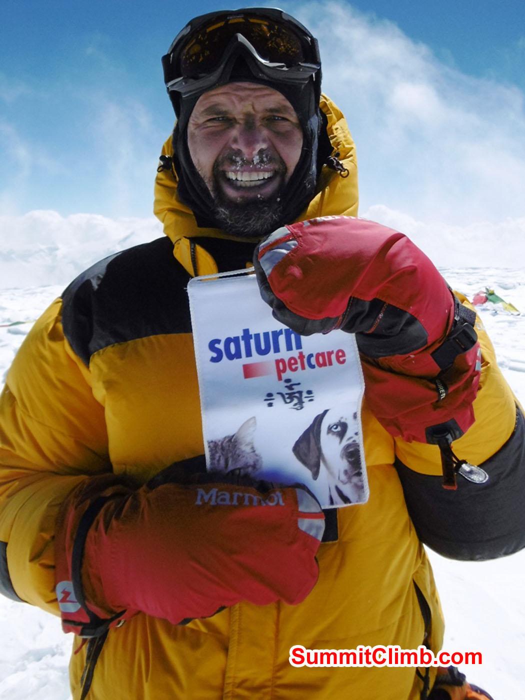 Christian on the summit. Stefan Simchen Photo