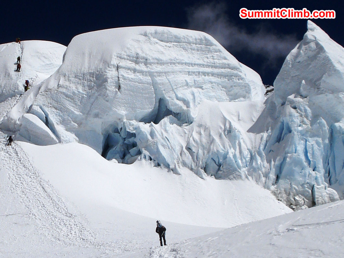 Climbers in the Ice Cliff. Glenn Nyberg Photo