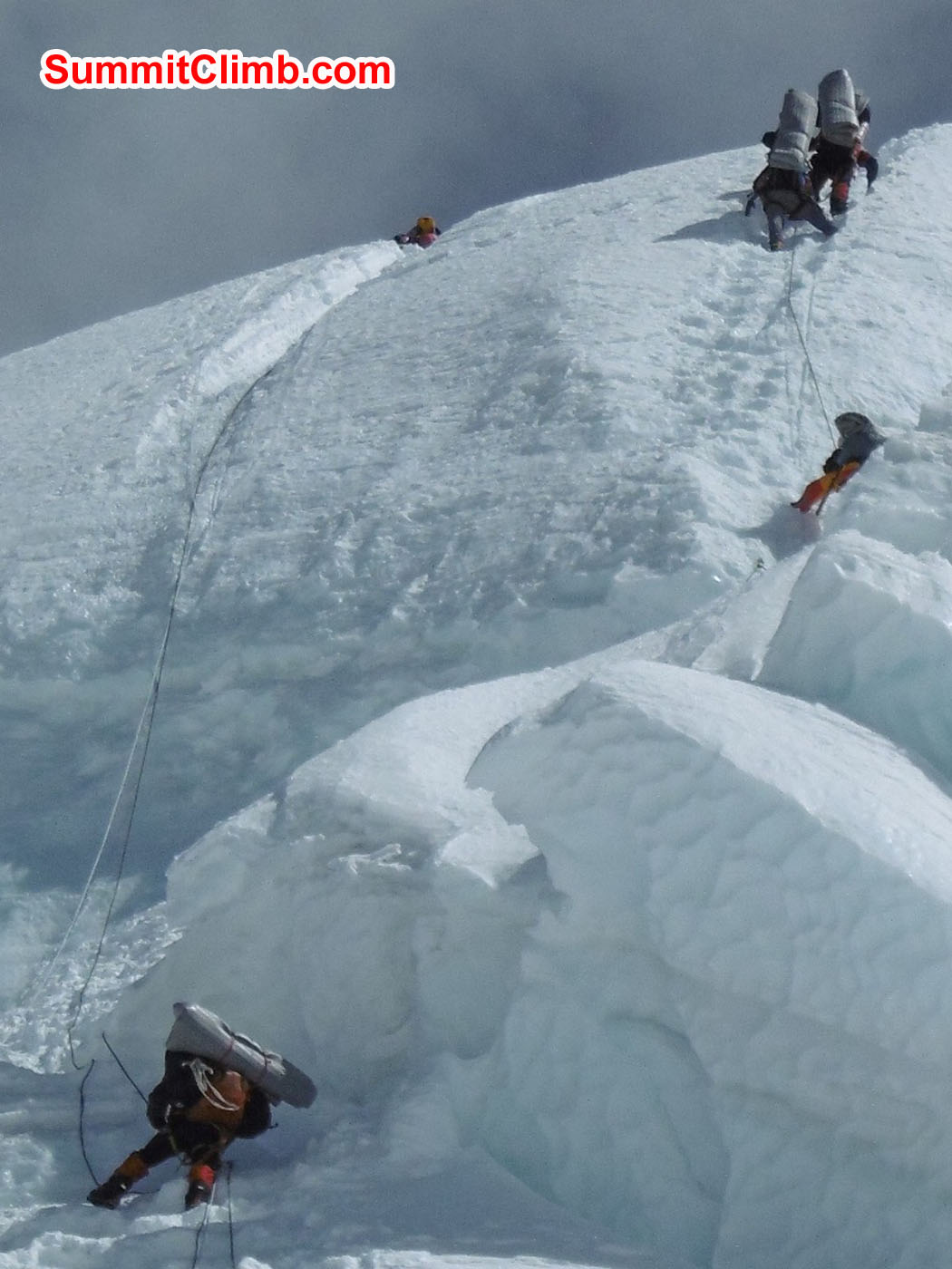 climbers working their way through the ice step. Stefan Simchen  Photo