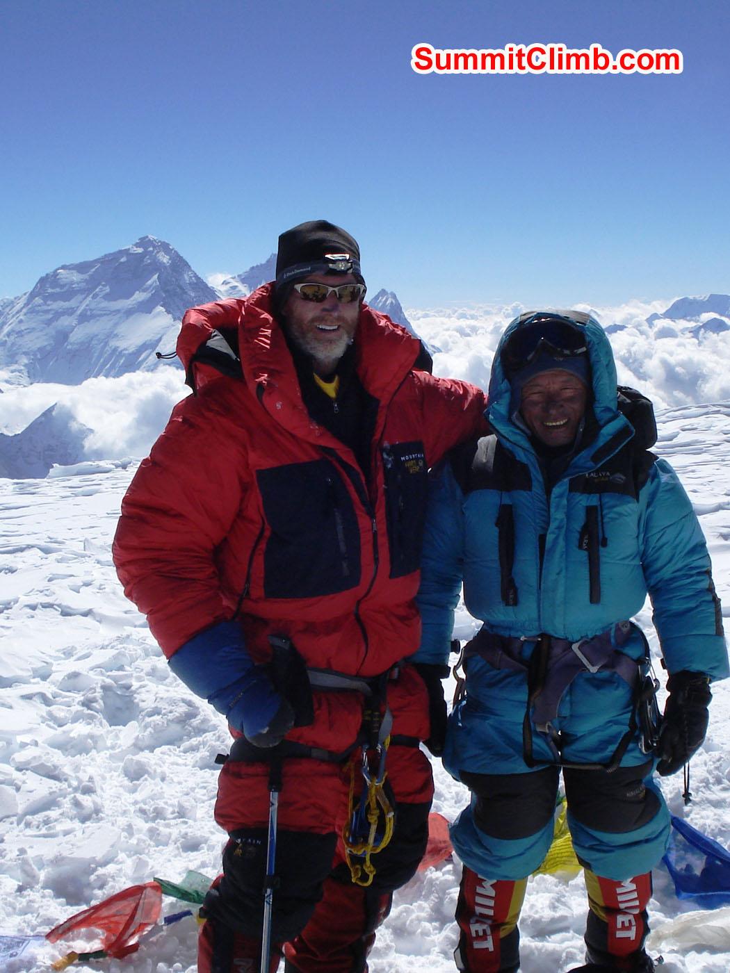 Glenn and Jangbu on the Summit of Cho Oyu. With Everest View. Alan Barclay Photo