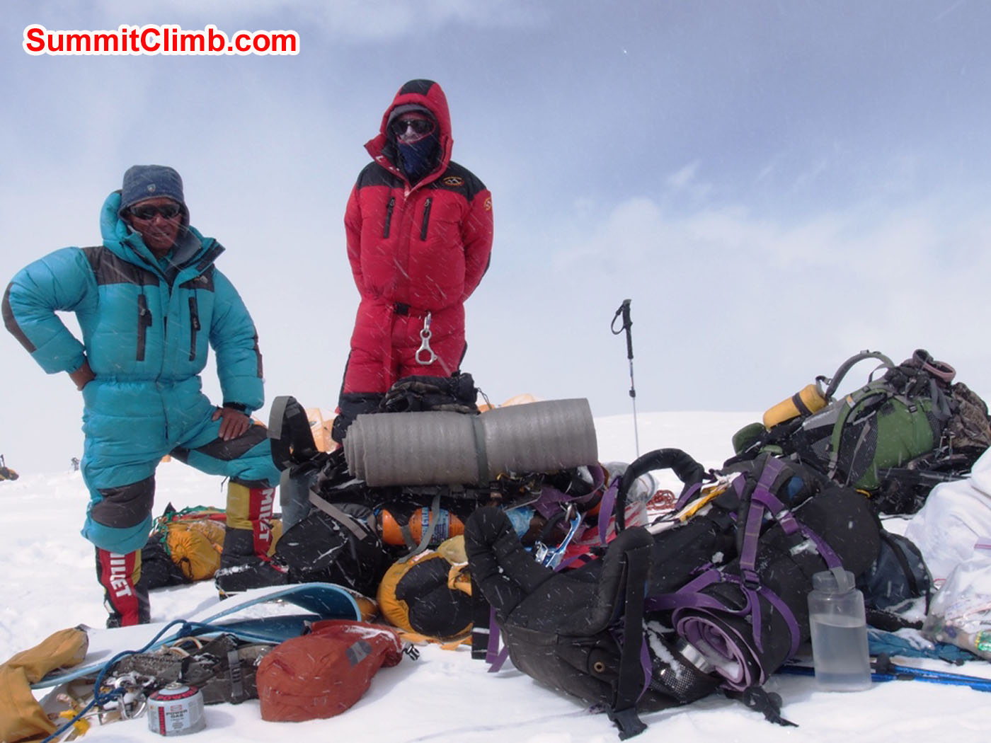 Jangbu and Dan. Packing loads to carry back down the mountain after summiting. Alan Barclay Photo