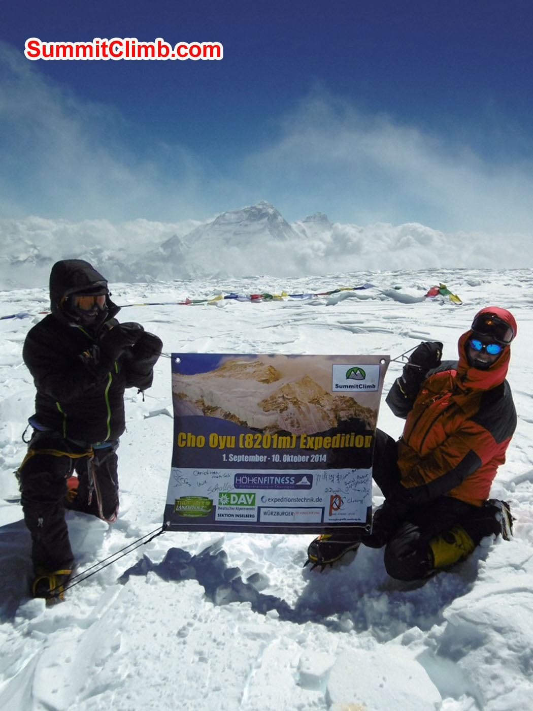 Thomas and Stefan on the summit of Cho Oyu. Uwe Werner Photo