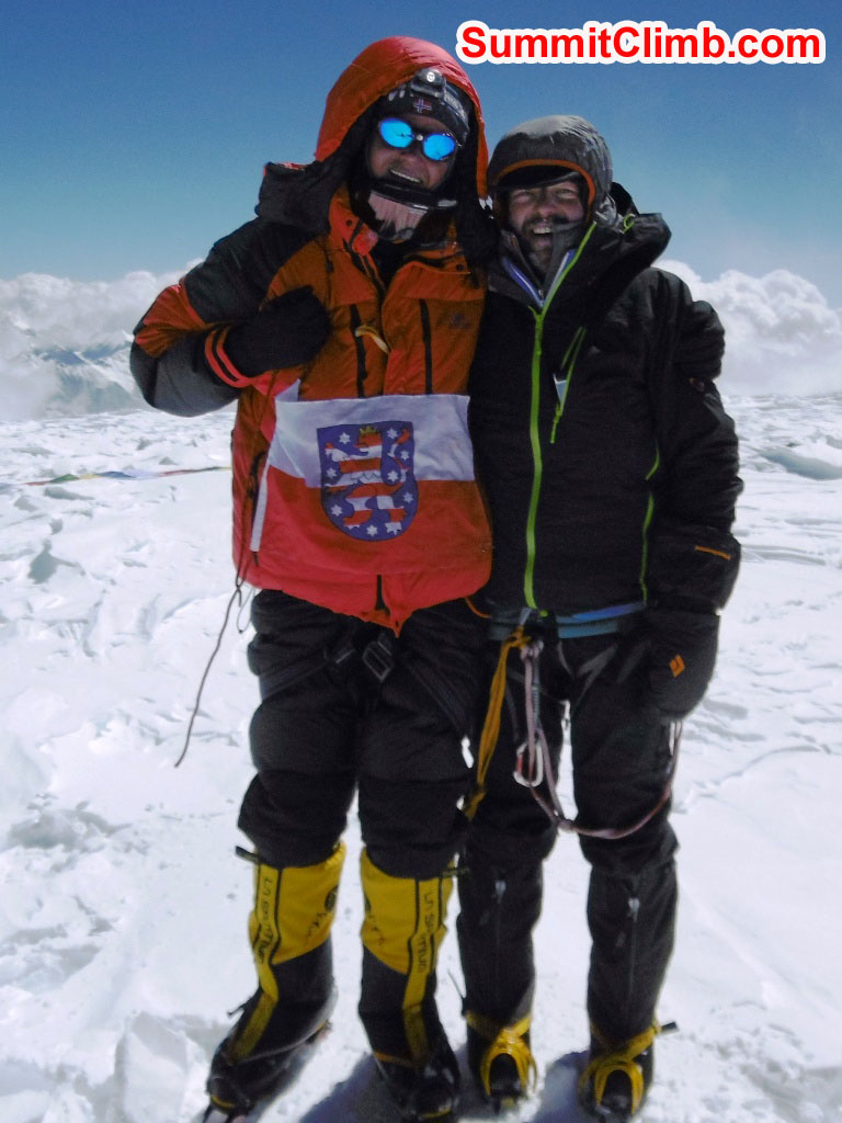 Uwe and Thomas on the summit. Stefan Simchen photo