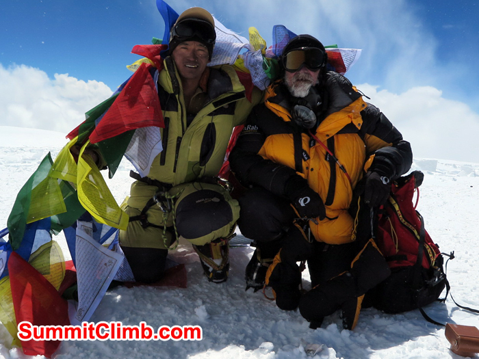 Ang Pasang and Stefan Brohn at the summit of Cho Oyu. Photo Stefan Brohn