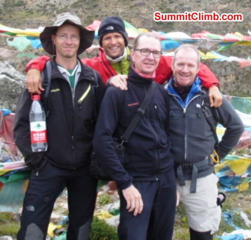 Jurgen,JJ, matti, and james, training climb on mount Kagali outside Nylam photo by james grieve