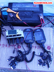 Charging system in basecamp. Photo Matti Sunell