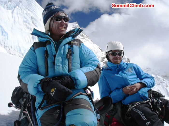 Jangbu Sherpa and Juergen Landmann waiting patiently at the base of the ice cliff just below camp 1. James Grieve Photo