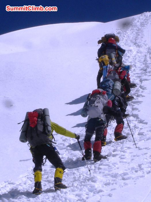 Our team climbs the ropes Jangbu Sherpa fixed above Camp 1. Jangbu Sherpa Photo