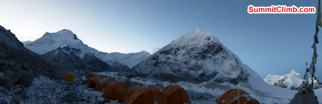 Predawn panorama showing Mount Cho Oyu on the left and unnamed peaks in centre and on right, across the Nangpa-La Pass. Photo Juergenn Landmann
