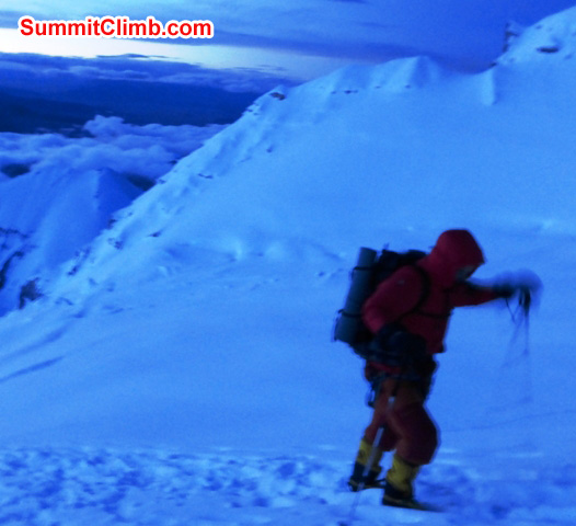 JJ climbing to the summit. Juergen Landmann Photo