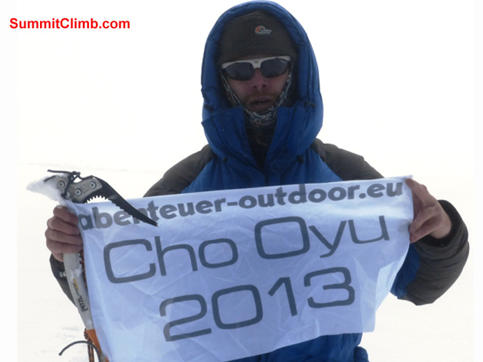 Juergen Landmann on the summit. Dan Mazur Photo