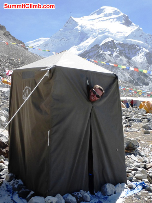 Hot Shower tent in advanced basecamp, Cho Oyu summit in background. Matti Sunell Photo of Juergen