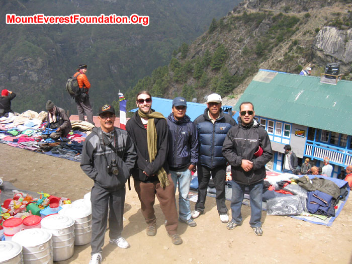 Team Roster for Deboche Nunnery at Namche Bazaar. Photo Murari Sharma