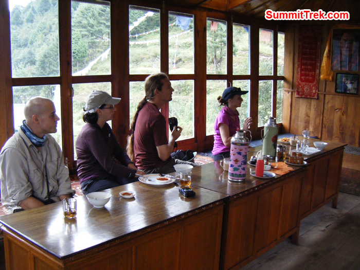 Resting at Tea House at Lukla after exciting flight. Photo by Hyker