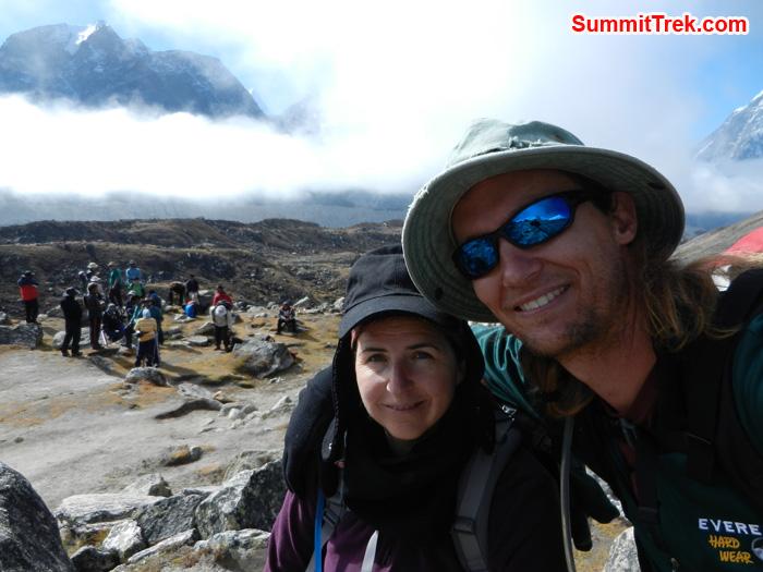 TJ & Stephanie enjoying the day of trek to Everest base camp. Photo by Stephanie