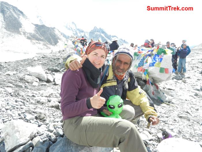 Stephanie posing at Everest Base Camp. Photo by Stephanie