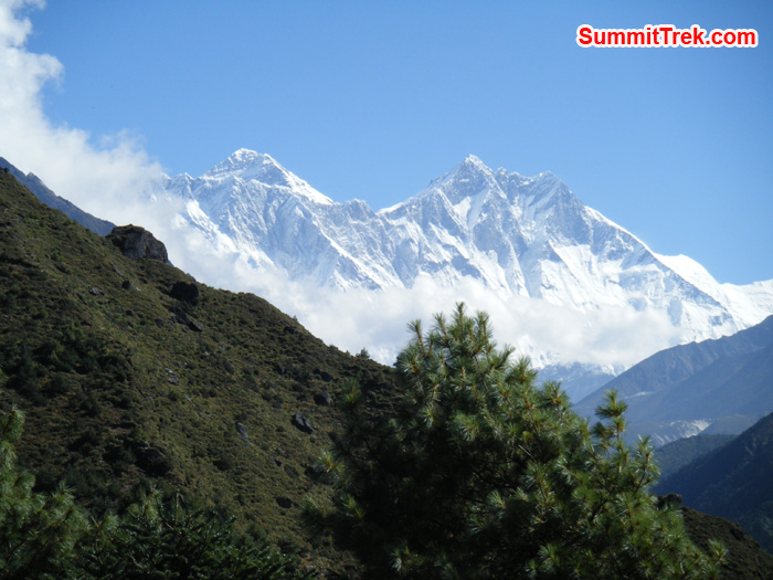 View of Nuptse, Lhotse, Everest and Ama Dablam just 15 minutes walk from Namche. Photo by Hyker