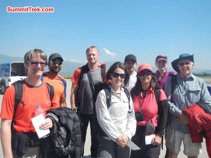 Team at the ktm airport- Jim, Saz, Mark, Maggie, Tim, Sangeeta, Rosemary, David. Airport attendant photo