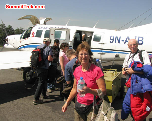 Team boarding the aircraft in KTM airport for the flight to Lukla. Ron and Dee Haberern Photo