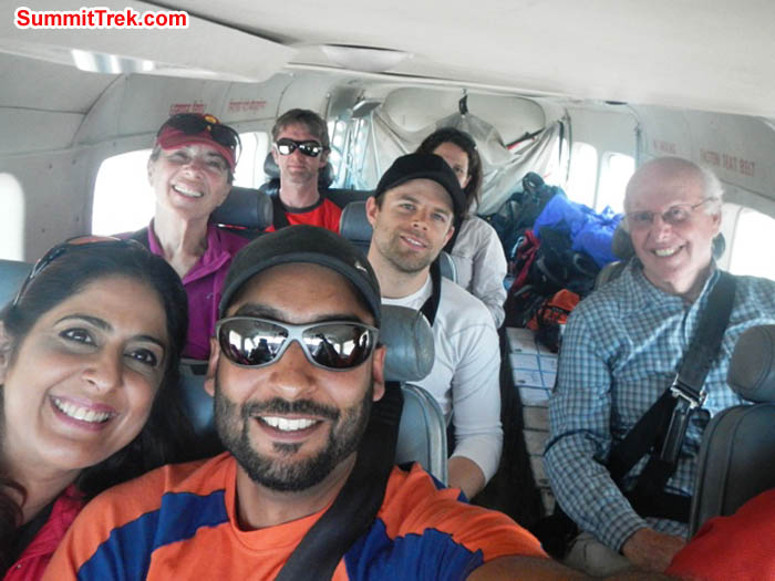 Team in the plane - Sangeeta, Rosemary, Saz, Jim, Tim, Maggie, David. Photo by Sangeeta Sindhi