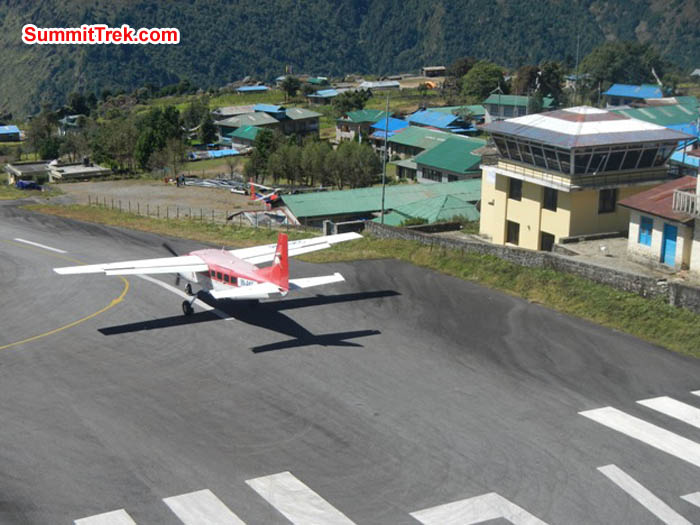 Plane takes off from Lukla. Control tower on right. Sangeeta Sindhi Photo