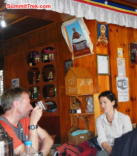 Mark and Maggie having a natter in a teahouse in Lukla. Sangeeta Sindhi Photo