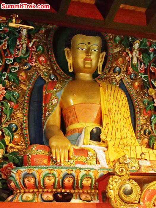 Buddha statue at Tengboche monastery on EBC trek. Photo Maggie Noodle