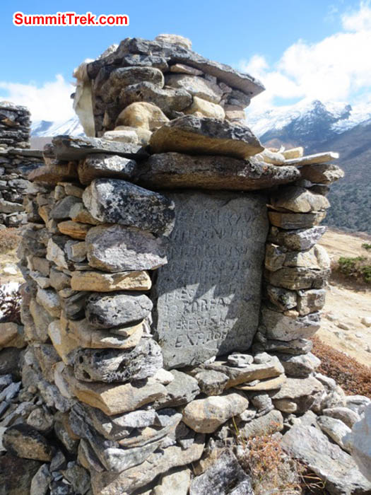 Atop Pangboche hill is located a chorten memorial to a fallen climber. Hannah Rolfson Photo