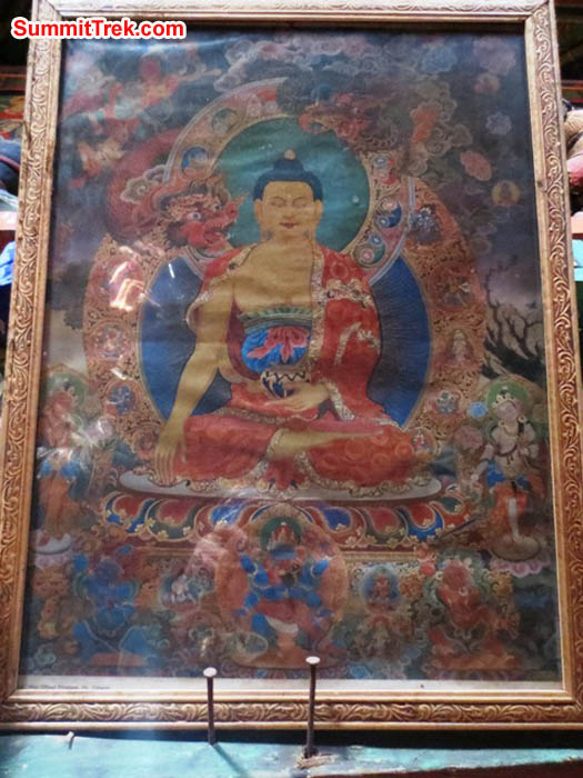 Paining of Padhmasambhava Buddha in Pangboche Gompa. Hannah Rolfson Photo