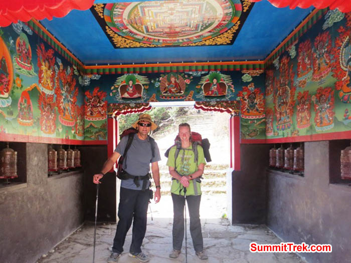 Brian and Hannah Rolfson at the entry gate to Tyengboche. Photo Lakpa Gyeluk Sherpa